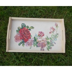 Unikaten lesen pladenj – Romantične vrtnice