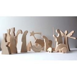 Velike lesene jaslice - 15- delni set